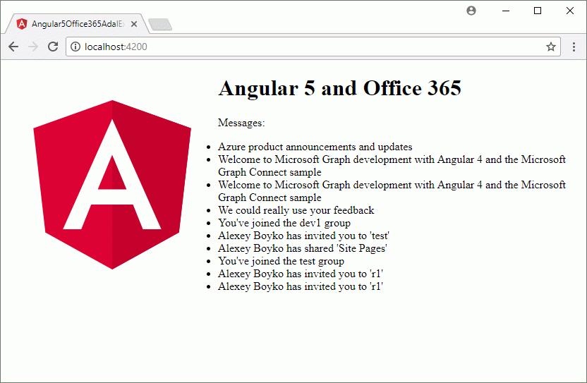 angular5 office 365 adal js