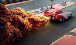 Клубы дыма от ракеты и гоночного автомобиля в виде куриных стрипсов — новая реклама сети фастфуда KFC
