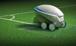 Робот Nissan Pitch-R с автопилотом рисует футбольные поля