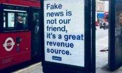 «Лживые новости — отличный источник заработка»: британский художник переделал уличную рекламу Facebook с извинениями