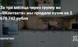 За три месяца через группу во «ВКонтакте» мы продали кухни на 2 670 742 рубля