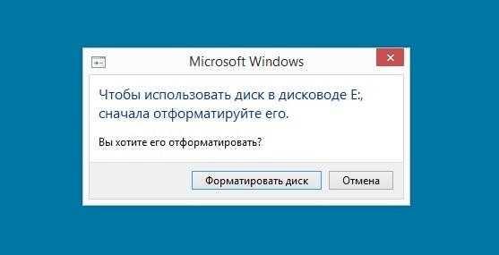 Windows предлагает отформатировать