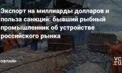 Экспорт на миллиарды долларов и польза санкций: бывший рыбный промышленник об устройстве российского рынка