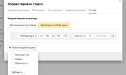 В Яндекс Директе появилась корректировка ставок по погоде