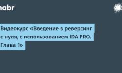 Видеокурс «Введение в реверсинг с нуля, с использованием IDA PRO. Глава 1»