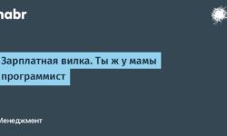 [Из песочницы] Зарплатная вилка. Ты ж у мамы программист