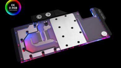 Фото Яркие водоблоки EK-Quantum Vector Strix RTX D-RGB рассчитаны на видеокарты ROG Strix GeForce RTX
