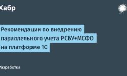 Рекомендации по внедрению параллельного учета РСБУ+МСФО на платформе 1С
