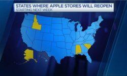 На следующей неделе Apple возобновит работу нескольких магазинов в США