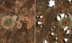 Почему метеоритное озеро в Индии резко поменяло свой цвет?