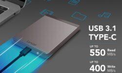Портативный SSD-накопитель Lexar SL200 весит 40 граммов