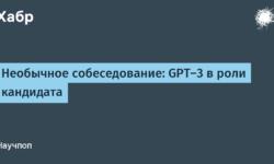 [Перевод] Необычное собеседование: GPT-3 в роли кандидата