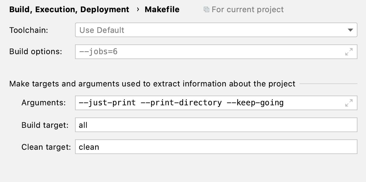 Makefile options