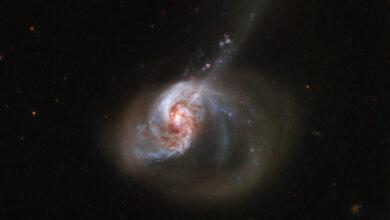 Фото Фото дня: эксцентричная галактика с пылающим «сердцем»