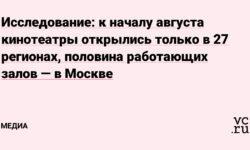 Исследование: к началу августа кинотеатры открылись только в 27 регионах, половина работающих залов — в Москве