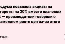 Фото Госдума повысила акцизы на сигареты на 20% вместо плановых 4% — производители говорили о возможном росте цен из-за этого