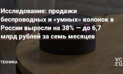 Исследование: продажи беспроводных и «умных» колонок в России выросли на 38% — до 6,7 млрд рублей за семь месяцев