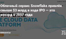 Облачный сервис Snowflake привлёк свыше $3млрд в ходе IPO—это рекорд с 2007года