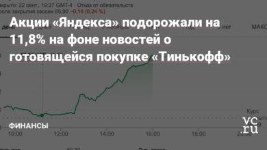 Фото Акции «Яндекса» подорожали на 11,8% на фоне новостей о готовящейся покупке «Тинькофф»