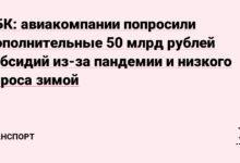 Фото РБК: авиакомпании попросили дополнительные 50 млрд рублей субсидий из-за пандемии и низкого спроса зимой