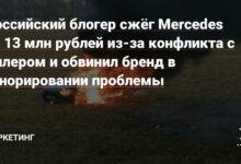 Фото Российский блогер сжёг Mercedes за 13 млн рублей из-за конфликта с дилером и обвинил бренд в игнорировании проблемы