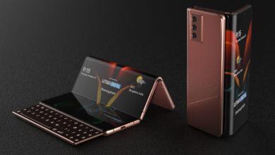 Фото У невероятного смартфона Samsung экран складывается в двух местах, а в корпусе прячется клавиатура